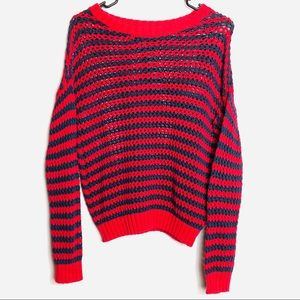 Forever 21 Red Striped Chunky Knit Sweater Size S